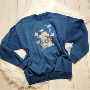 Vintage Cutesy Cat Kitten Oversized Sweatshirt